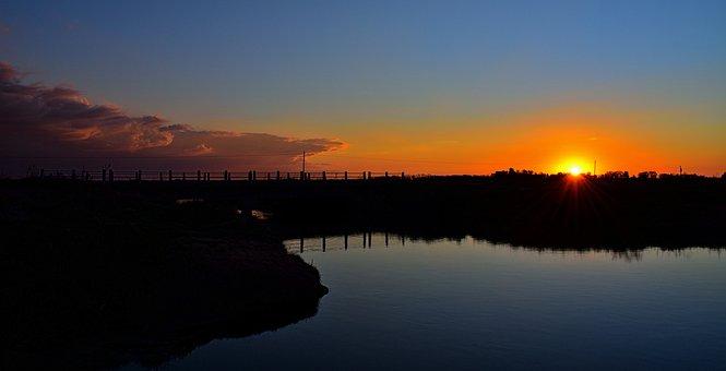 Landscape, Sunset, Brook, Natural Landscape, Bridge