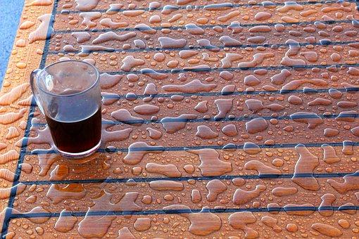 Drops, Water, Cup, Coffee, Teak