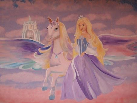 Barbie Pegasus, Wall Painting, Wall Decoration
