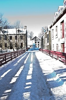 Winter, Colors, Bridge, Park, Architecture, City