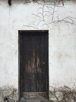 Door, White, Contrast, Old, Wood, Entrance, White Wall