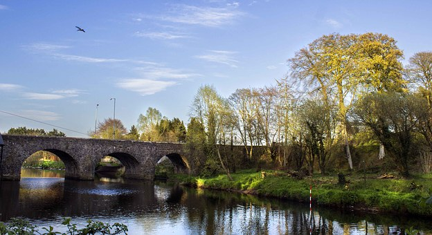 Shaws, Bridge, Landscape, Water, Arches, Golden, Hour