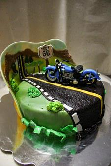 Road, Road 66, Harley, Motorcycle, Cake, Birthday Cake