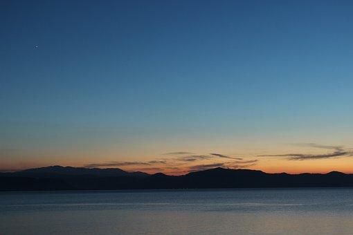 Lake Inawashiro, Evening View, Blue Sky, Fukushima