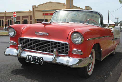 Chevy, Muscles Cars, 55 Chevy, Automobile, Car, Red