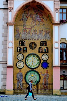 The Woman Walked Clock Tower, Czech, Central Europe