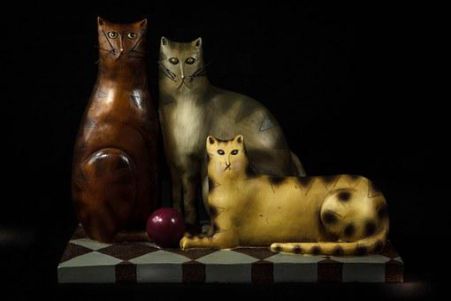 Cats, Felines, Tchotchke, Carved Wood, Figurine