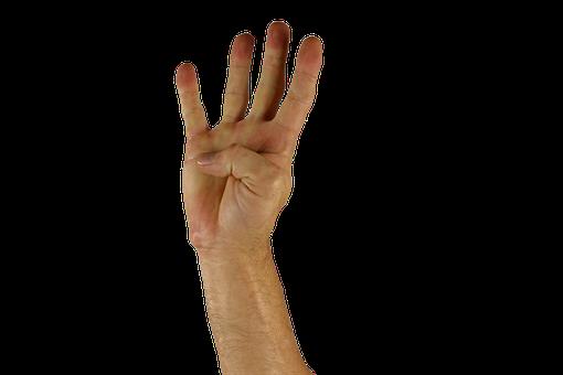 Hand, Finger, Four, Sign Language