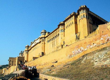 India, Amber, Palace, Fort, Maharajah, Elephants