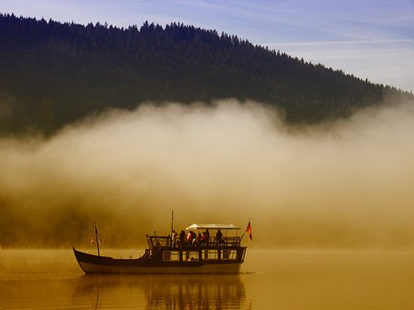 Boot, Ferry, Black Forest, Lake, Titisee, Germany, Fog