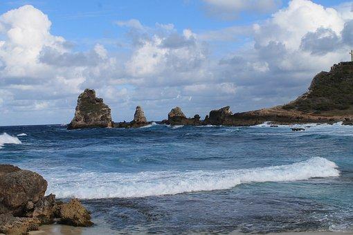 Beach, Sea, Waves, Guadeloupe, Pointe Des Châteaux