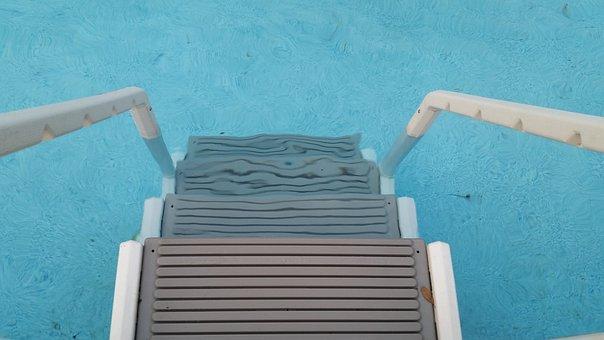 Ladder, Swimming, Pool, Water, Blue, Swim, Poolside