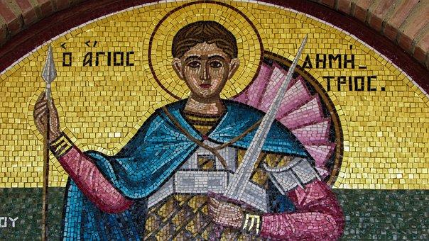 Lintel, Ayios Dimitrios, Saint, Mosaic, Church