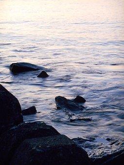 Sea, Stone, Rock, A Quiet, Evening, Natural, Sea Level