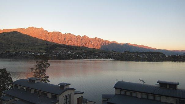 Queenstown, New Zealand, Lake, Sunset, Mountains
