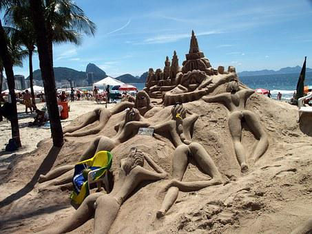 Brazil, Copa Cabana, Rio De Janeiro, Beach Art