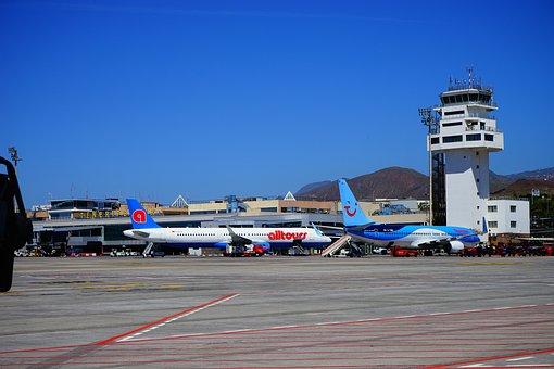 Airport, Tenerife, Runway, Aircraft, Tower, Reina Sofía