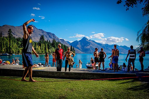 Slackline, Queenstown, Beach, New Zealand, Lake