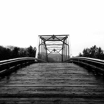 Bridge, Small Town, Black And White