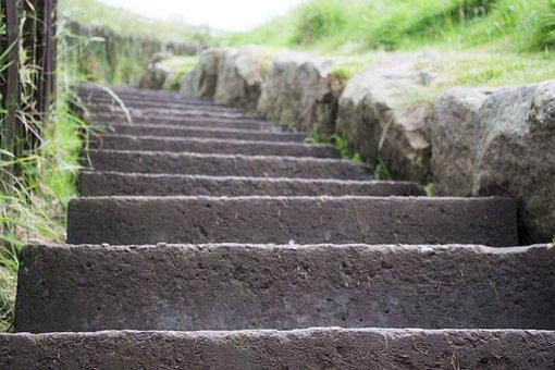 Steps, Grass, Green, Dunnottar, Nature, Family, Walk