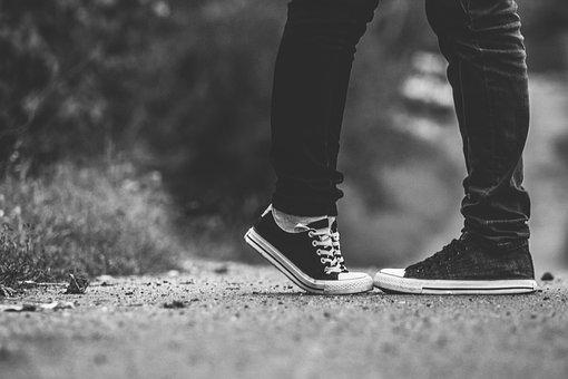 Feet, Tiptoe, Kiss, Pair, Love, Trainers