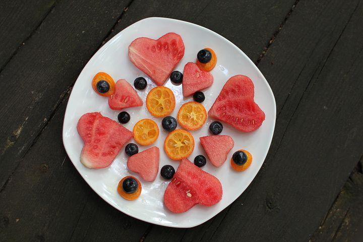 Watermelon, Blueberries, Fruit, Plate, White, Wood
