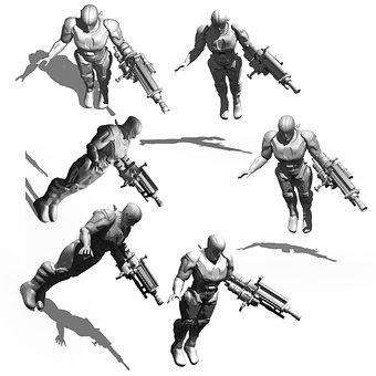 Cyborg, Bio Mechanics, Render, 3d Model, Tonal Values
