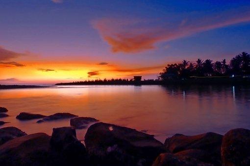 Sunset, Beach, Rock, Sky, Landscape, Cloud, Magenta