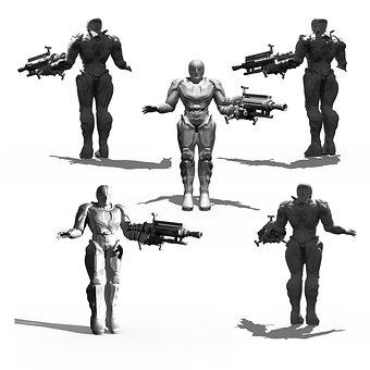 Cyborg, Bio Mechanics, Render, 3d Model