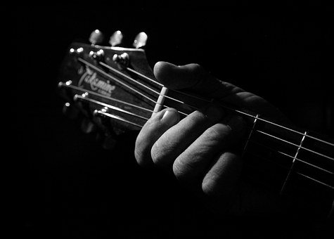 Black And White, Guitar, Playing, Musical, Black