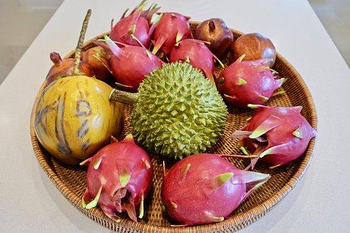 Durian, Dragonfruit, Tropical, Exotic, Fruit, Bowl