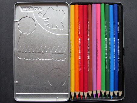 Colored Pencils, Sheet Metal Box, Color, Colorful