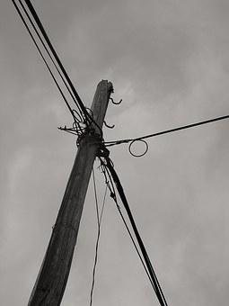 Electrical Wiring, Column, Wooden, Cables, Wires