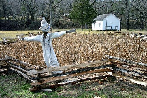 Missouri, Landscape, Fence, Corn, Scarecrow, Fall