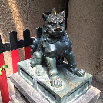 Guardian Dogs, Shrine, Kyoto, Lion, Statue, Asian