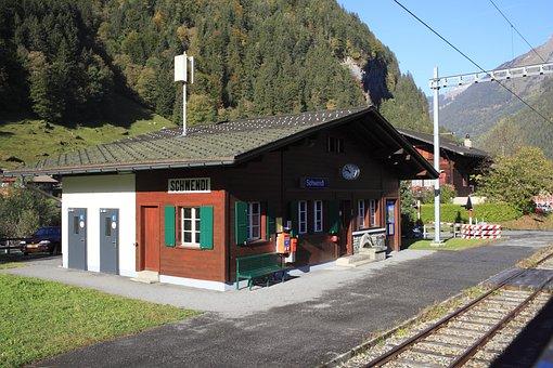 Switzerland, Mountain Railway, Mountain, Train Station