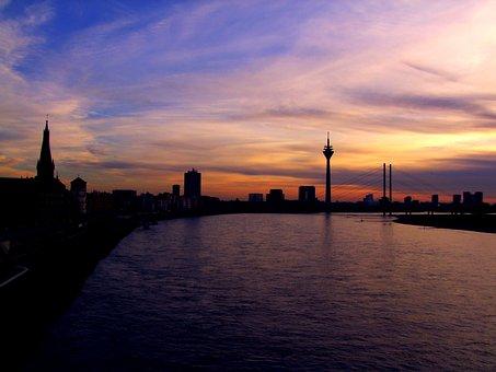 Niederrhein, Evening, Sunset, Evening On The River