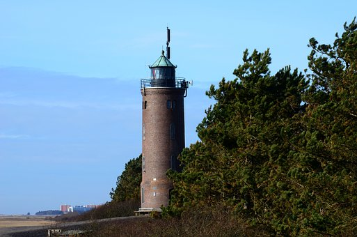 Lighthouse, North Sea, Wadden Sea, Nordfriesland, Watts