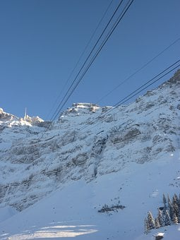 Cable Car, Säntis, Snow, Mountains, Panorama