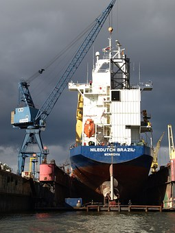 Dry Dock, Shipyard, Port, Hamburg, Floating Dock, Elbe