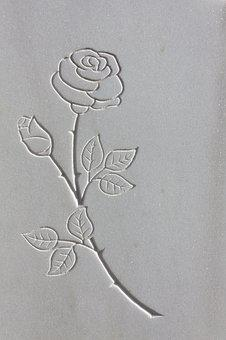 Rose, Thorns, Rock Carving, Sculptor, Marble