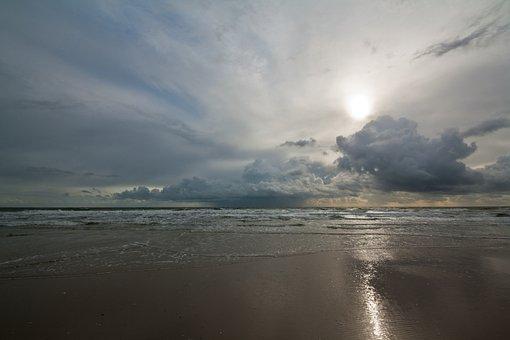 Sea, Beach, Weather, Sun, Clouds, Amrum, Kniepsand