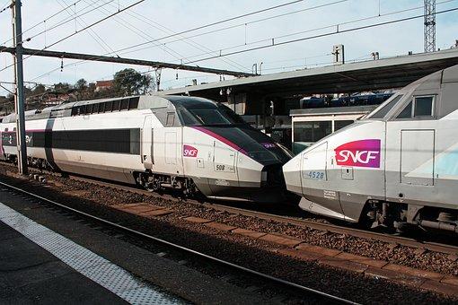 Tgv Trains, Coupled Tgv, Two Tgv Trains, French Tgv's