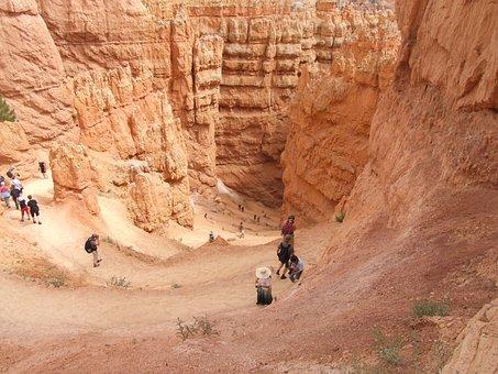Bryce Canyon, Canyon, Hiking, People, Tourists