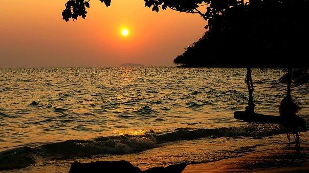 Sea, Sunset, Beach, Evening On The Sea, Landscape, Tree