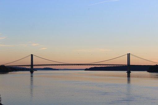 Bridge, Water, Parallel, Sun, Sunny