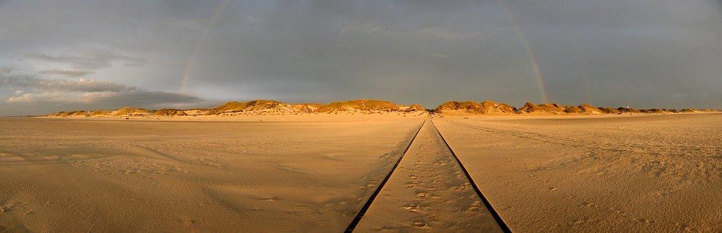 Amrum, Beach, Rainbow, Dunes, Nordfriesland, Wide, Sun