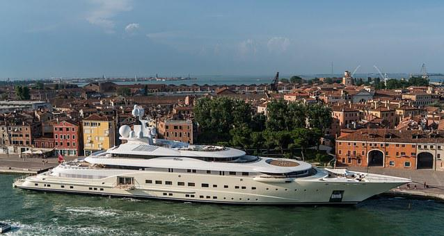 Venice, Italy, Coastline, Yacht, Canal, Europe, Water