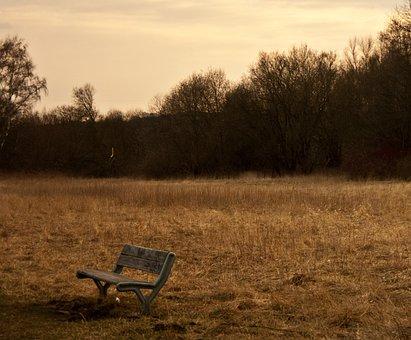 Bank, Sunset, Sepia, Abendstimmung, Rest, Landscape