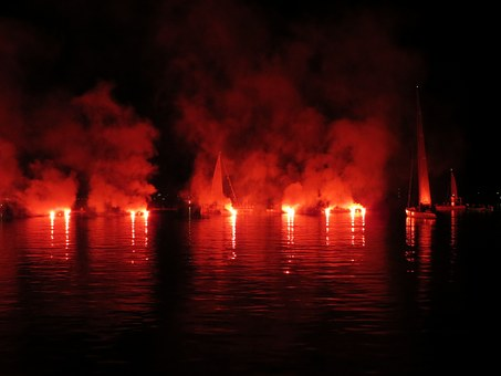 Sailor, Torches, Lights, Lake In Flames, Water, Boats